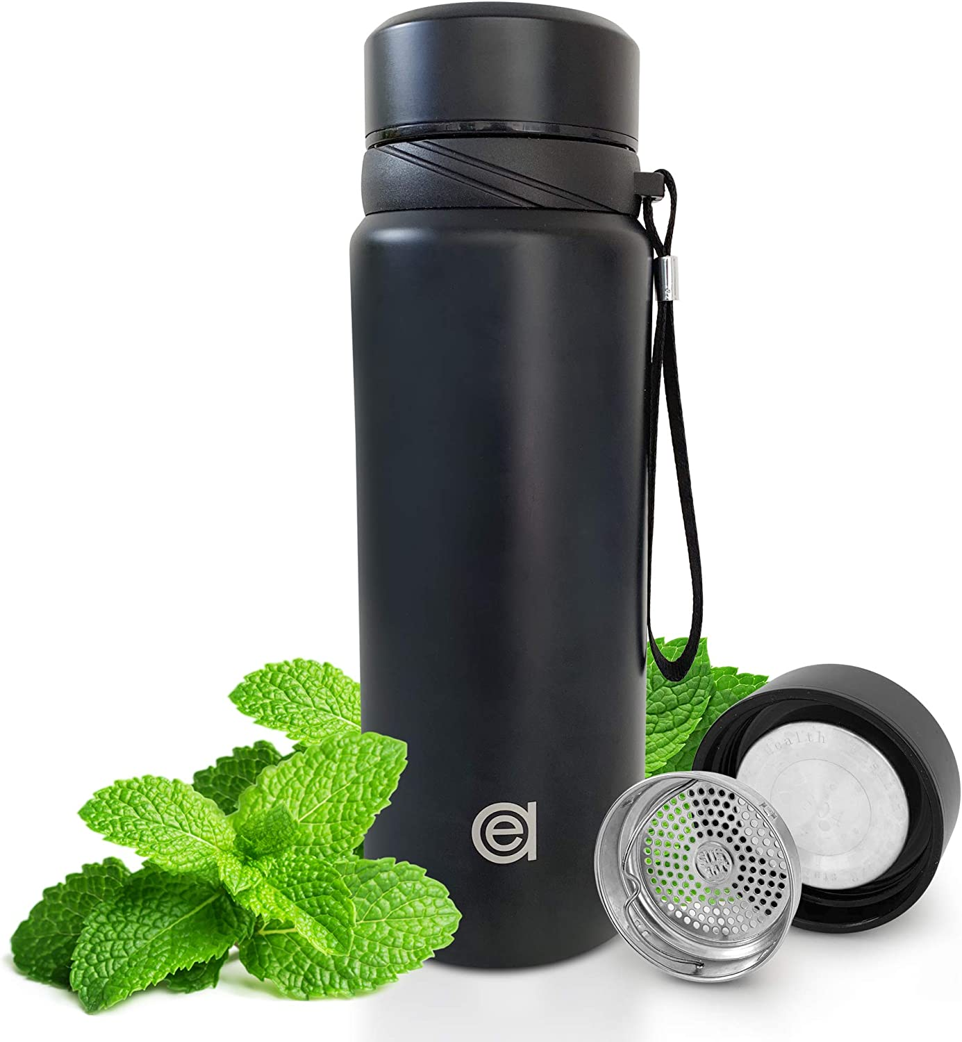 EasyAs Stainless Steel Insulated Water Bottle, Coffee Thermos, Double Walled Vacuum Flask Ideal for Hot and Cold Beverages and Food When You Travel 26oz Black
