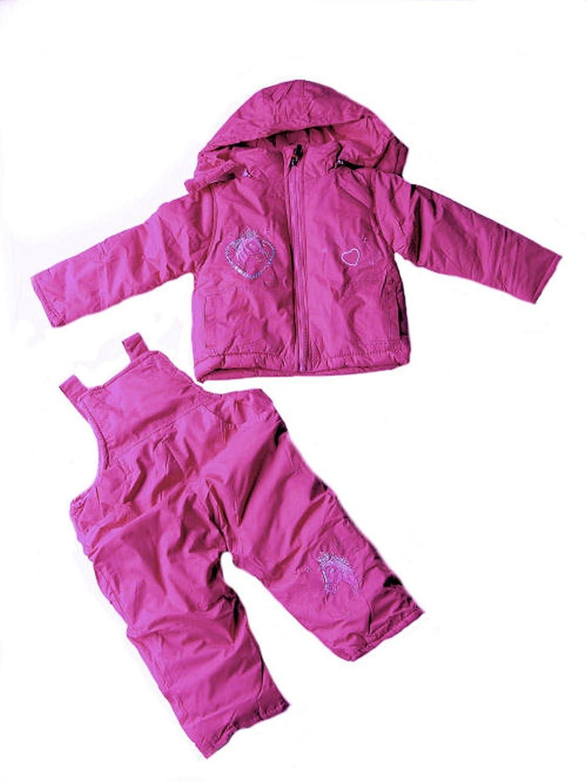Kinder Skianzug, Schneeanzug, 2-teilig, mit Pferdemotiv pink-flieder, AM-KI-MAE-Ski-J-108