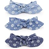 3 Pack Bow Headbands Denim Fabric Anchor Pattern Head Wrap Stretchy Hair Band for Women