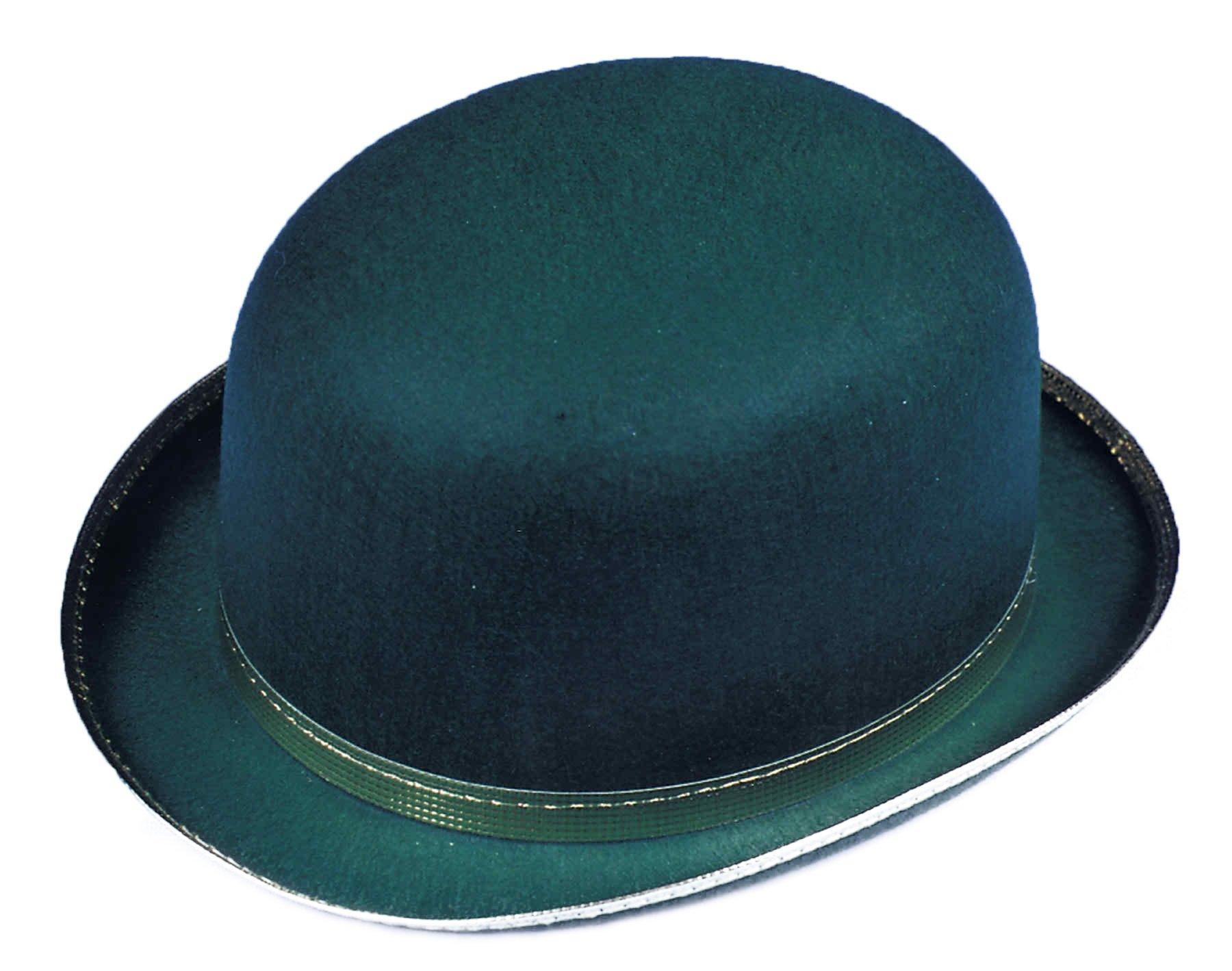 UHC Adult Men's Bowler Derby Felt Top Hat Halloween Costume Accessory (Green), L