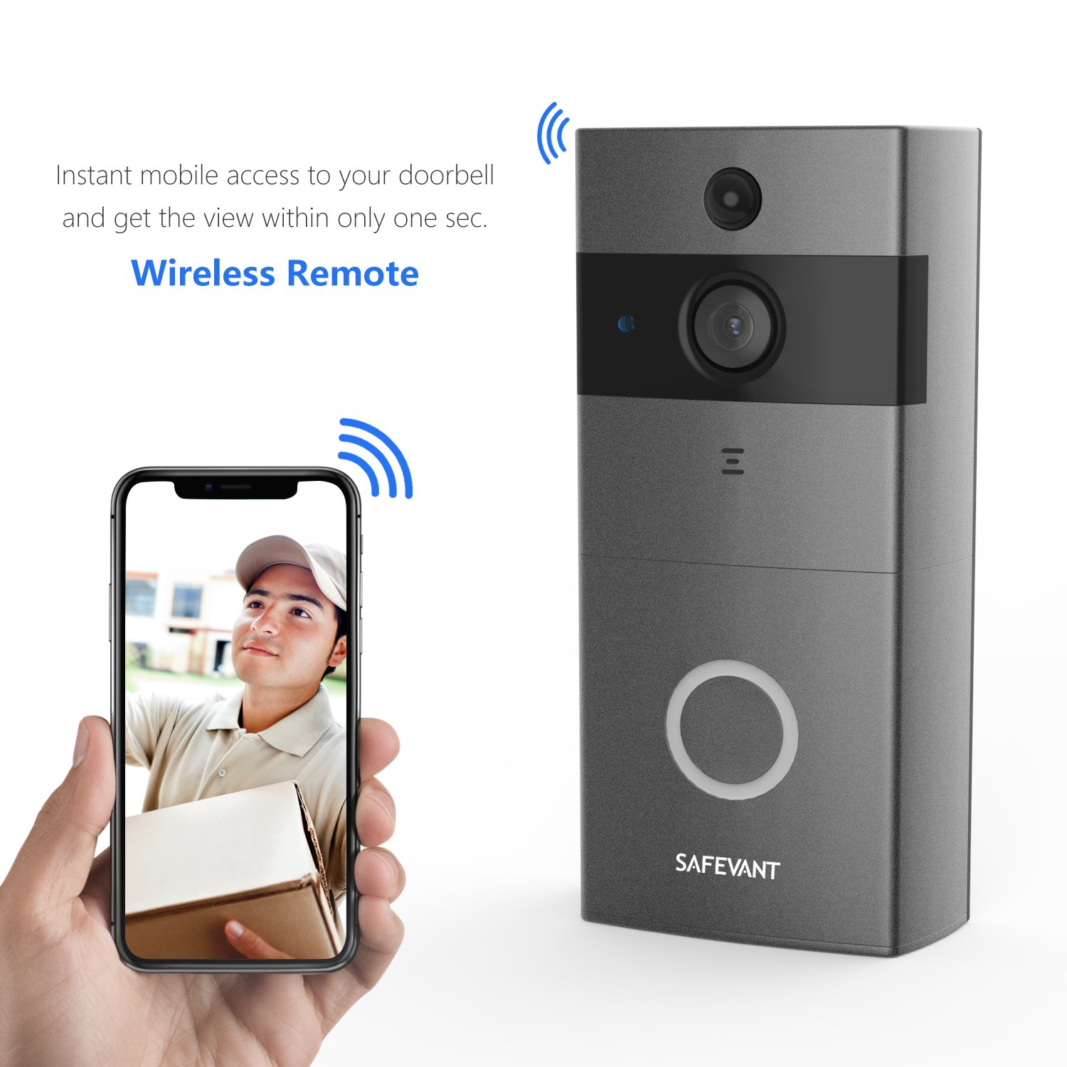 Video Doorbell, Safevant Wi-Fi Doorbell Camera 720P HD Home Security Camera with Two-Way Talk & Video,Infrared Night Vision,PIR Motion Detection Wireless Doorbell for iOS and Android Smart Phone