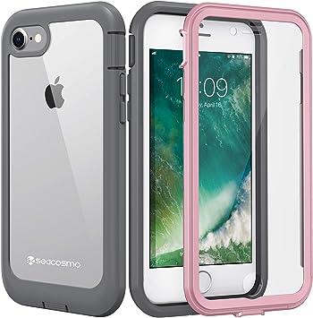 seacosmo Funda iPhone 7 / iPhone 8, Carcasa Transparente a Prueba de Golpes con Protector de Pantalla Incorporado, iPhone 7/8 Funda de Dos Piezas (Rosa y Gris): Amazon.es: Electrónica