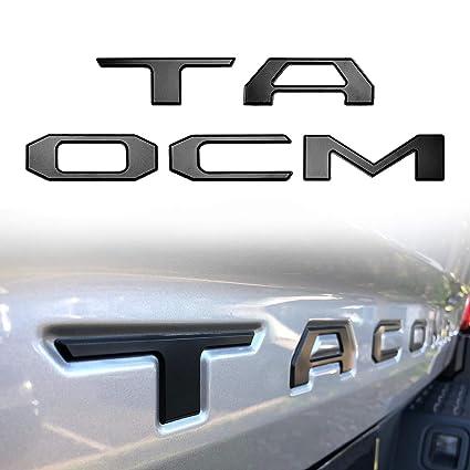 3D Toyota Tacoma Tailgate letter Insert Emblems Sticker Matte Black 2016-2018