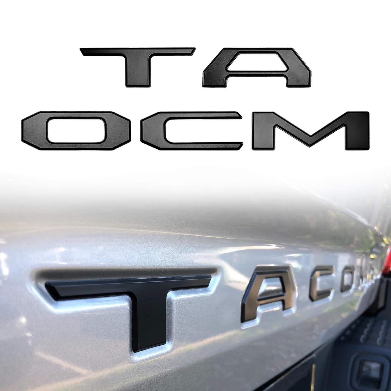 Seven Sparta 3D Raised Tailgate Letters for Tacoma 2016 2017 2018 Zinc Alloy Emblem Inserts (Matte Black)