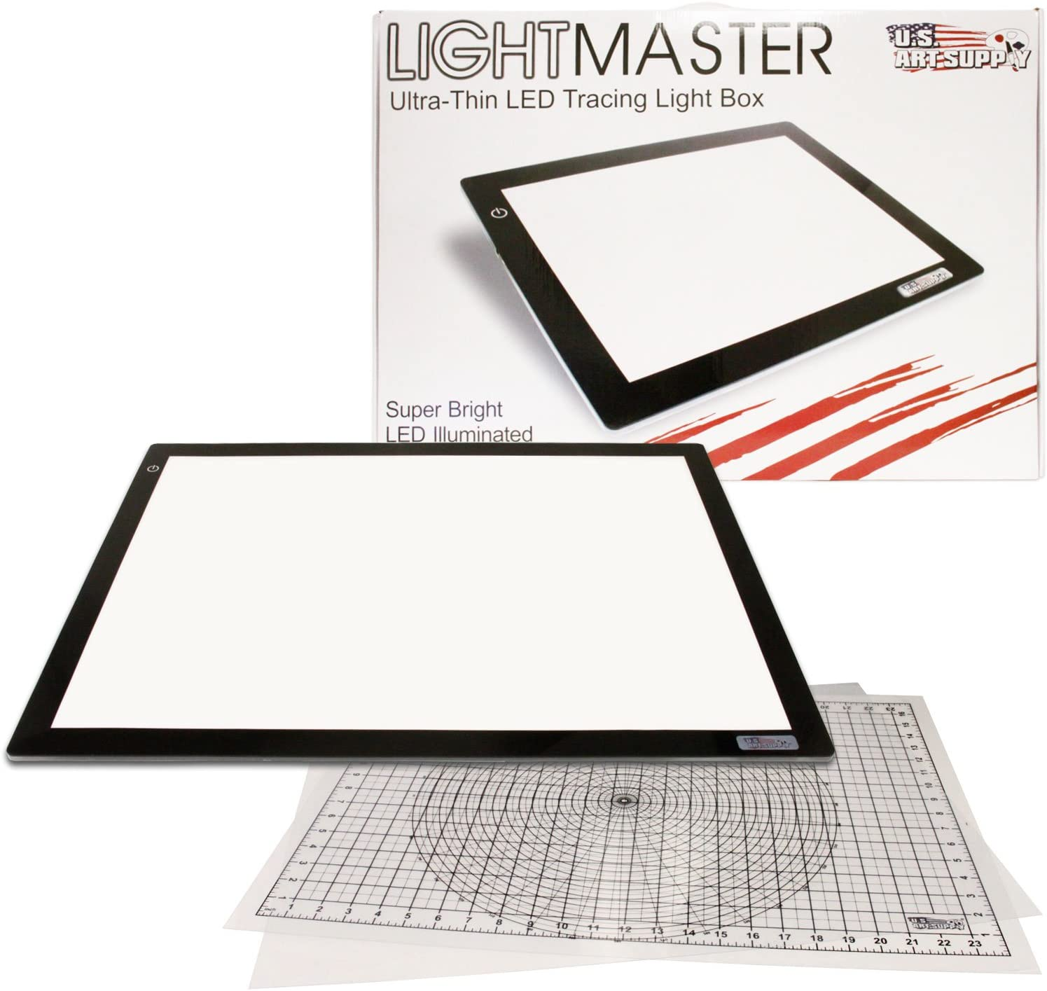 US ART SUPPLY Lightmaster Jumbo 32.5 Diagonal Extra Large(A2) 17x24 LED Lightbox Board- 12-Volt Super-Bright Ultra-Thin 3/8 Profile Light Box Pad with 110V AC Power Adapter & Dimmable LED Lamps. Now Includes for FREE: 1 Measuring Overlay Grid & 1 Circle Te