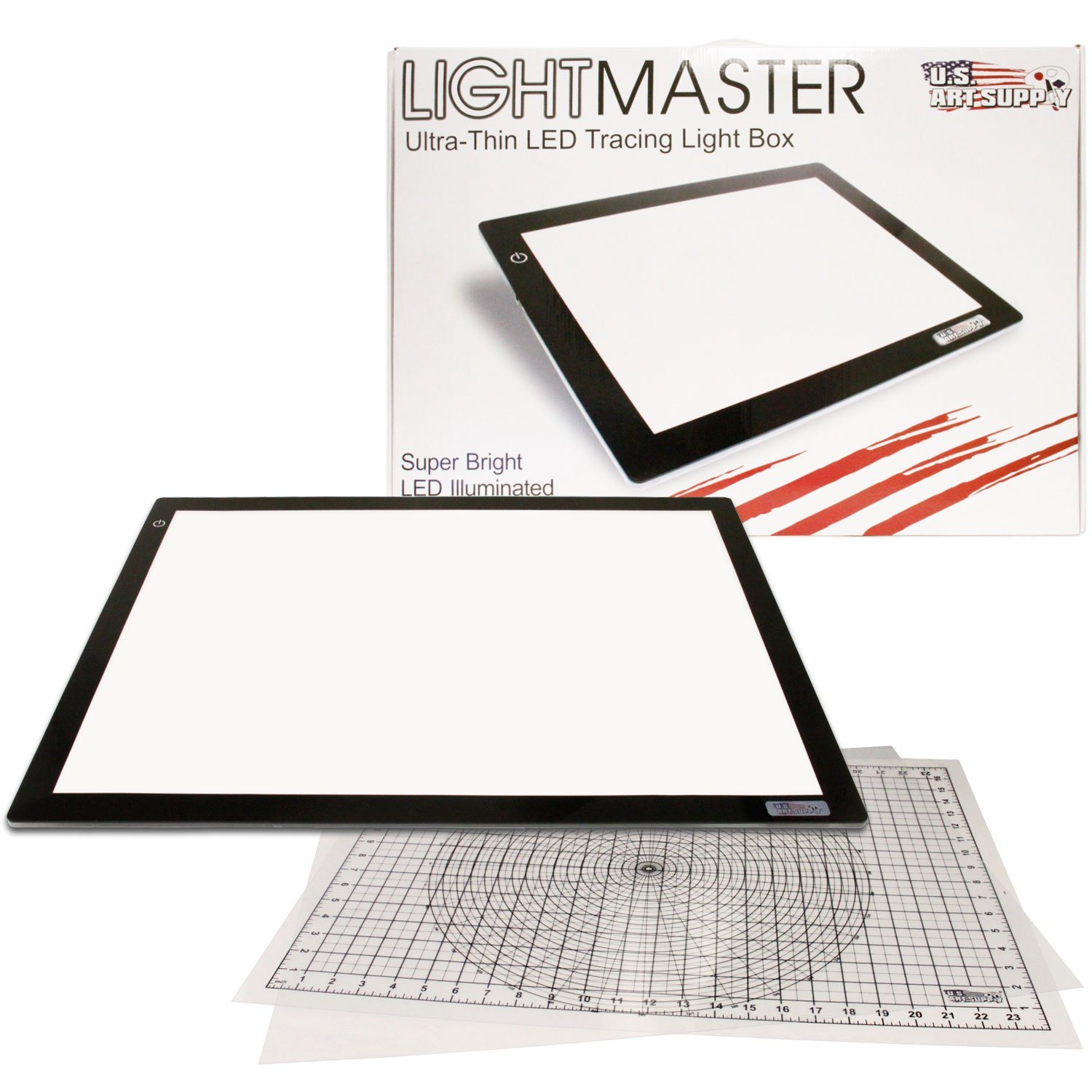 US ART SUPPLY Lightmaster 32.5'' Extra Large(A2) 17''x24'' LED Lightbox Board Ultra-Thin 3/8'' Light Box Pad and 110V AC Power Adapter Dimmable LED with Measuring Overlay Grid & Circle Template/Protractor by US Art Supply