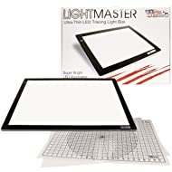"US ART SUPPLY Lightmaster Jumbo 32.5"" Diagonal Extra Large(A2) 17""x24"" LED Lightbox Board- 12-Volt Super-Bright Ultra-Thin 3/8"" Profile Light Box Pad with 110V AC Power Adapter & Dimmable LED Lamps. Now Includes for FREE: 1 Measuring Overlay Grid & 1 Circle Template/Protractor 1-Year Warranty"