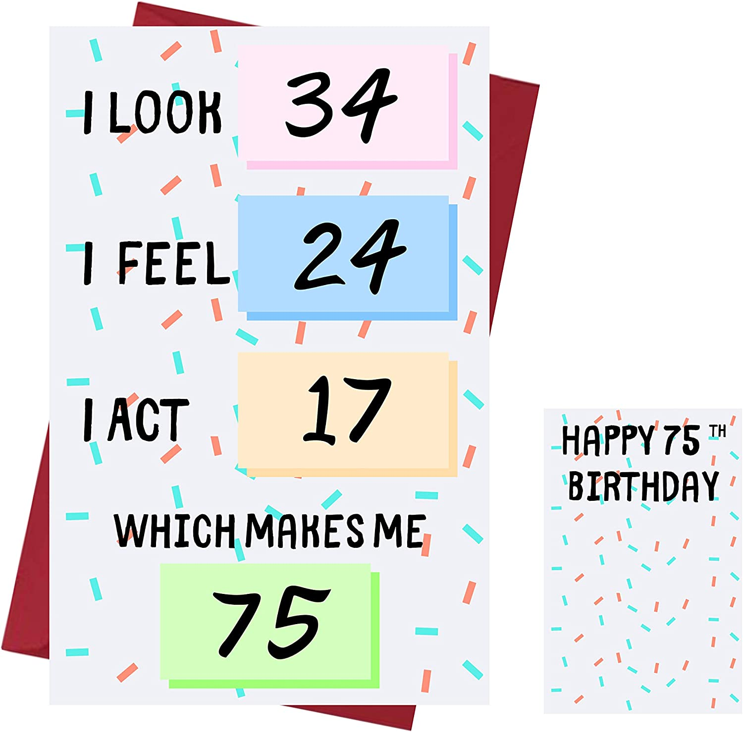 Amazon Com Funny 75th Birthday Cards For Women Or Men For Friends Family Lover Etc Funny Birthday Cards 75 Years Old Perfect Funny Birthday Cards 75th Anniversary With Envelope Office Products