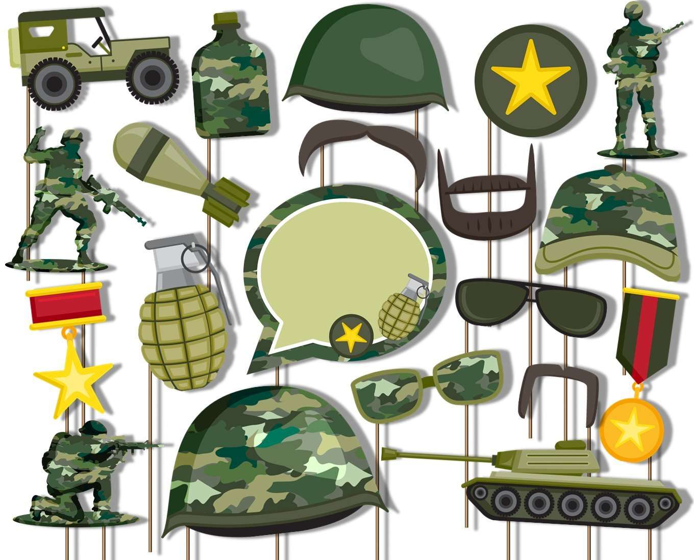 Classic Camo- Army Military Photo Booth Props Kit - 20 Pack Party Camera Props Fully Assembled by Birthday Galore