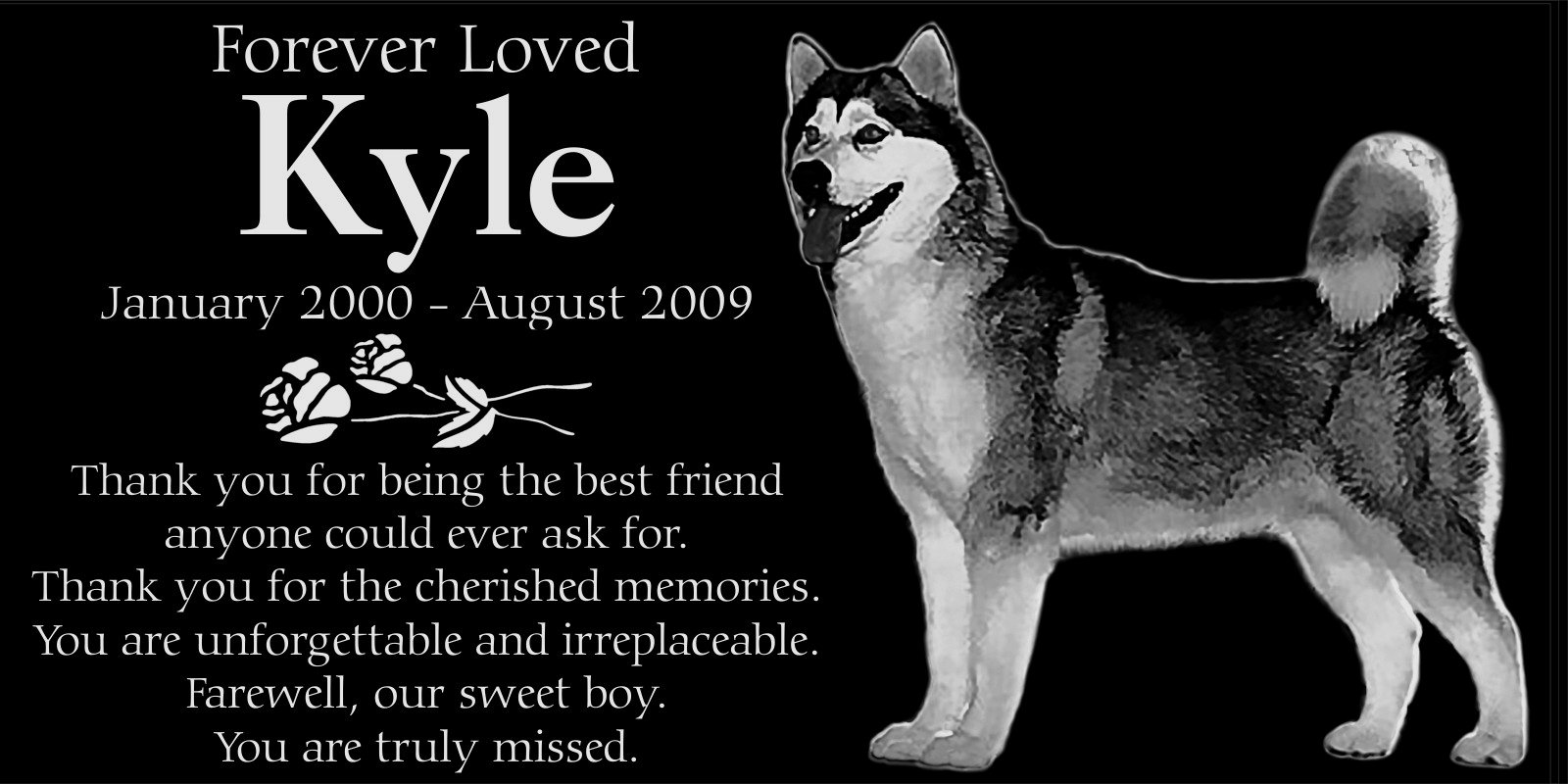 Personalized Alaskan Malamute Dog Pet Memorial 12''x6'' Engraved Black Granite Grave Marker Head Stone Plaque KYL1