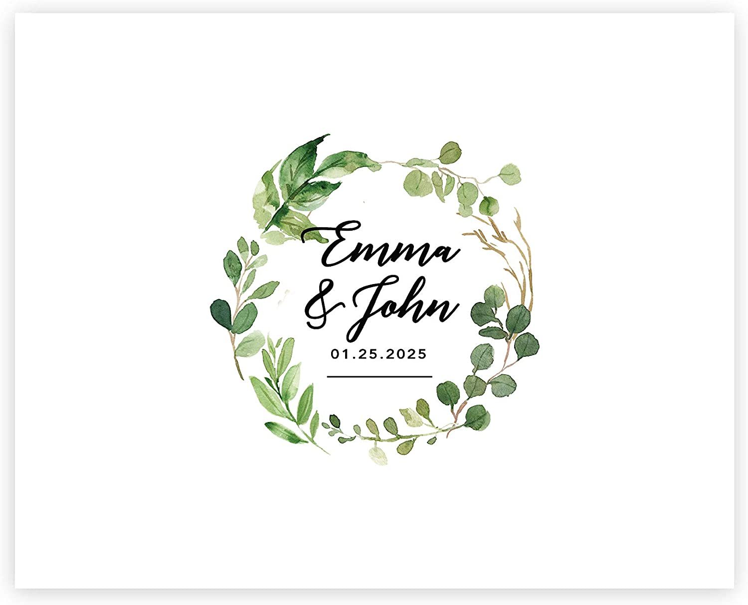 Andaz Press Custom Large Wedding Canvas Guestbook Alternative, 16 x 20 Inches, Eucalyptus Greenery Wreath, Horizontal, Personalized Sign Our Canvas, Welcome Sign for Greenery Theme Events