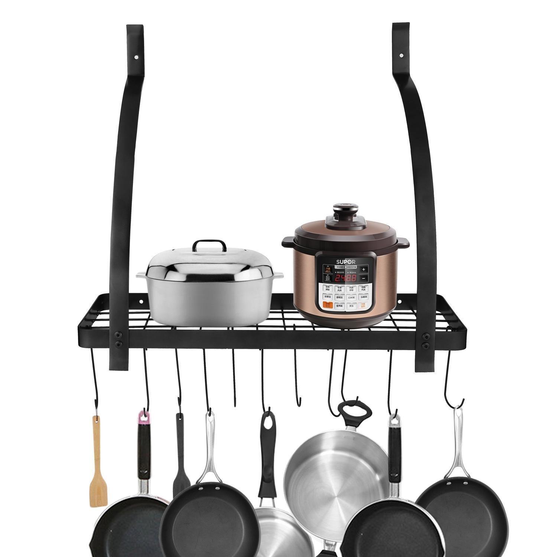 Opino Kitchen Wall Pot Storage Rack with Hook Cookware Utensils Pan Shelf Organizer(US Stock) (Black)