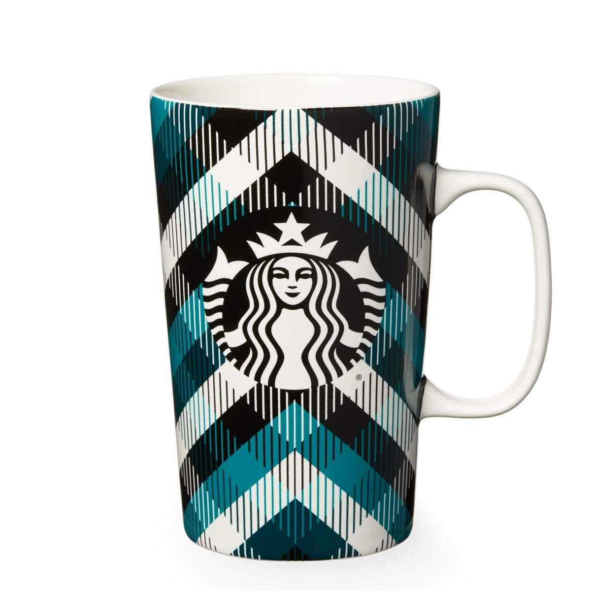 Starbucks Blue Plaid Mug, 16 Fl Oz
