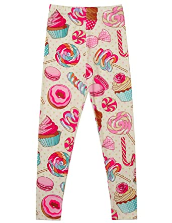e1f4592d7fe96 Jxstar Little Girls Pants Sweet Print Candy Cake Pattern Ankle Length Basic  Leggings Candy 110