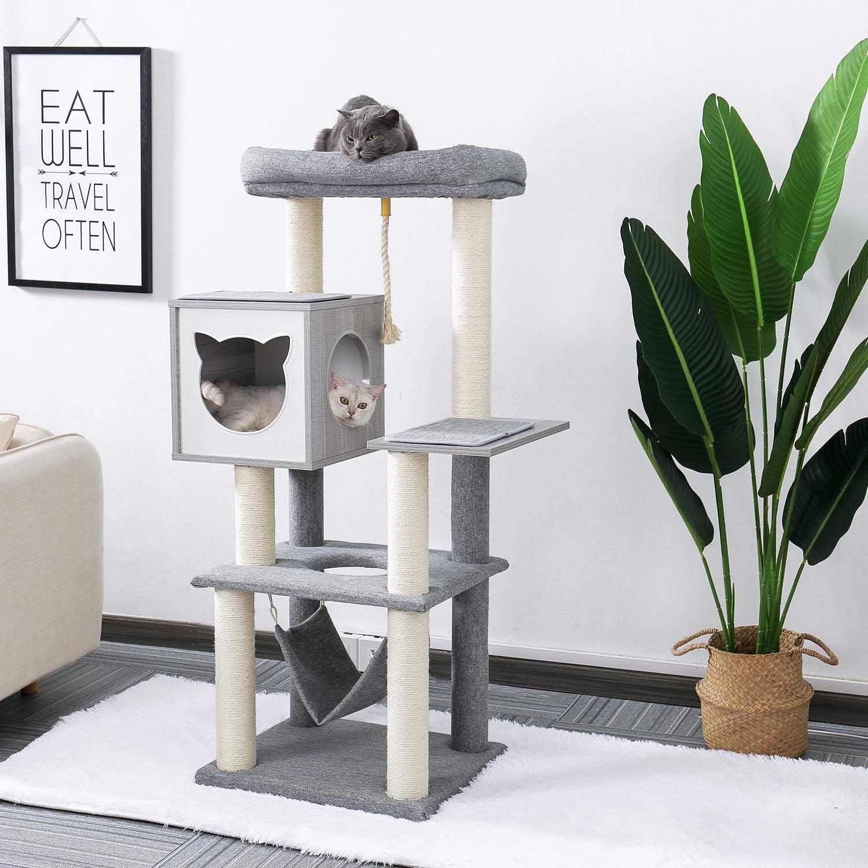 Actividad del Centro para Gatos Gatitos Gris 132cm /Árbol para Gatos Rascador con Hamaca y Postes de sisal PAWZ Road /Árbol rascador para Gatos