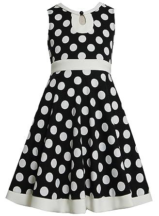 d6befc47ee2 Bonnie Jean Black White Polka Dot Keyhole Neckline Knit Dress BK8TT, Girl  Plus-Size
