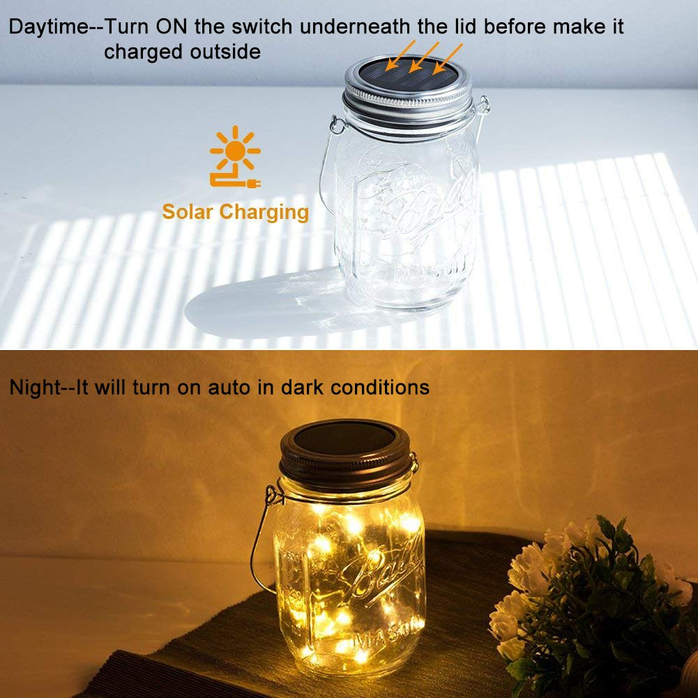 Solar Mason Jar Lights, Adecorty Outdoor Hanging Lights 2 Pack 20 LED String Fairy Star Firefly Jar Lights (Jars & Hangers Included) Warm White Waterproof Solar Lanterns for Garden Patio Outdoor Decor by Adecorty (Image #4)