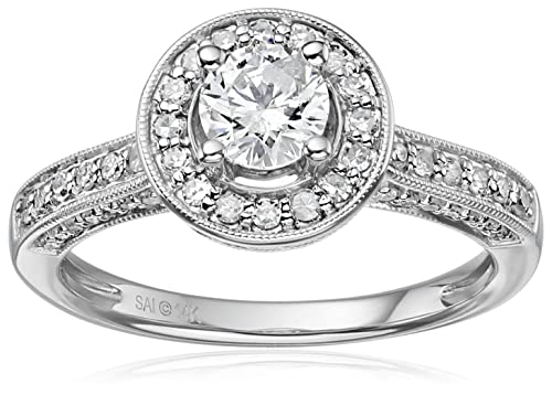 14k White Gold Diamond Round Halo Frame Engagement Ring (1cttw, H-I Color, I1-I2 Clarity), Size 7