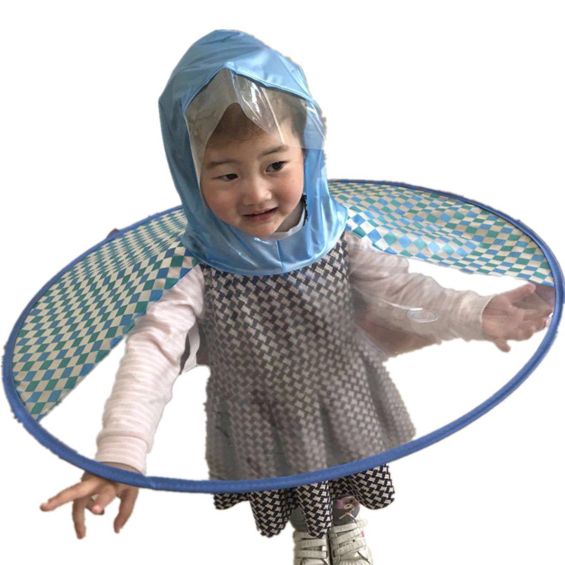 Rain Coat UFO Duck Kids Baby Children Umbrella Hat Magical Hands Free Raincoat
