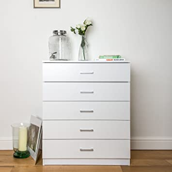 Home Treats White Chest Of 5 Drawers Bedroom Furniture Anti Bowing