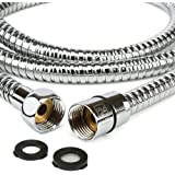 "H&S 1.75m (69"") Stainless Steel Replacement Shower Hose Anti-Kink with 2 Washers - Chrome"