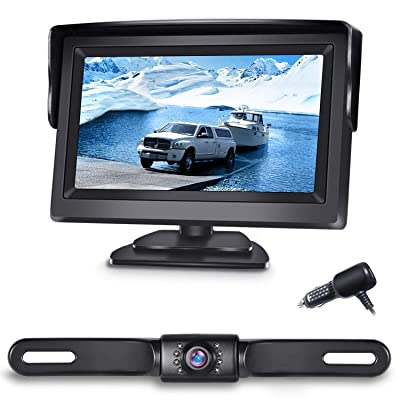 eRapta Backup Camera ERT01 with 4.3 inch Monitor License Plate Back Up Camera for Car Pickup Truck SUV Rear View Camera Backing Reverse Camera Crystal Clear Image IP69 Waterproof Nice Night Vision: Car Electronics