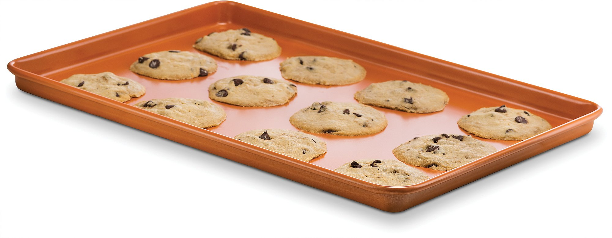 Ceramic Coated Cookie Sheet 17.3'' x 11.6'' - Premium Nonstick, Even Baking, Dishwasher and Oven Safe - PTFE/PFOA Free - Red Cookware and Bakeware by Bovado USA by BOVADO USA (Image #2)