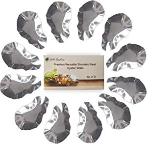 Premium Reusable Stainless Steel Oyster Shells, Set of 12, Great for Make Oysters Rockefeller/Baked Clams/Scallop/Seafood of all Kind (12 pieces per pack)
