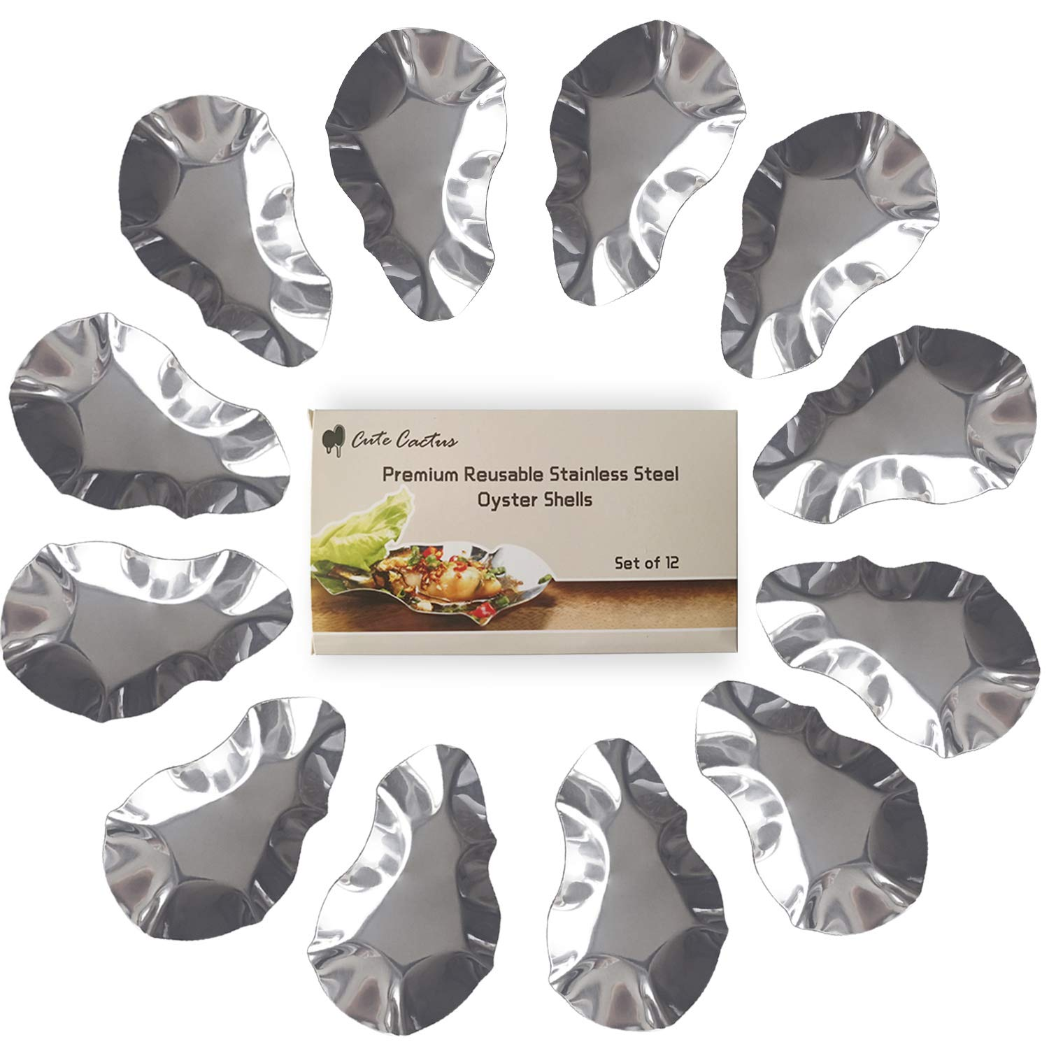 Premium Reusable Stainless Steel Oyster Shells, Set of 12, Great for Seafood of all Kind (12 pieces per pack)
