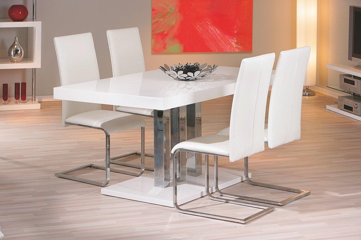 Esstisch mit Stühlen weiss hochglanz lackiert: Amazon.de: Küche ...