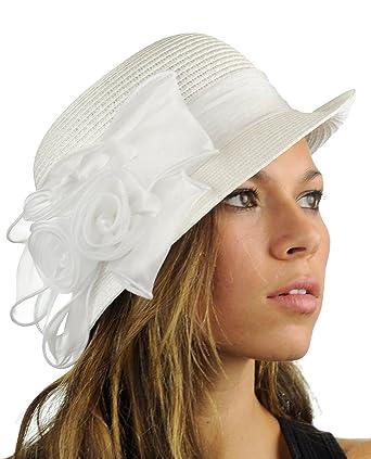 1d760be13b9 NYFASHION101 Satin Ribbon Triple Rose Band Side Flip Brim Cloche Bucket Hat  - White  Amazon.in  Clothing   Accessories