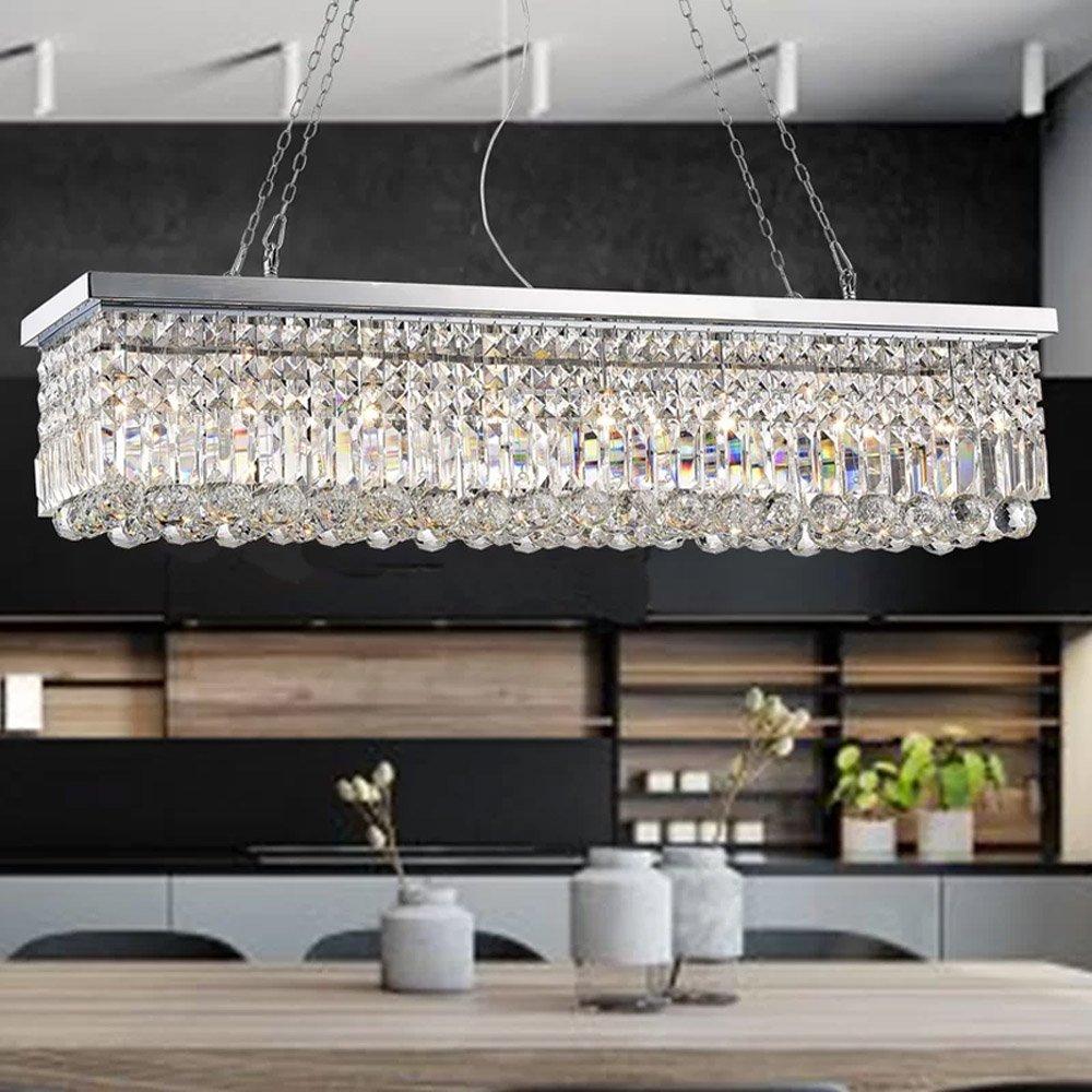 Rectangle Clear K9 Crystal Chandelier Pendant Lamp Lighting Fixture 8 Lights for Dining Living Bedroom Room - Chrome Frame 40''...