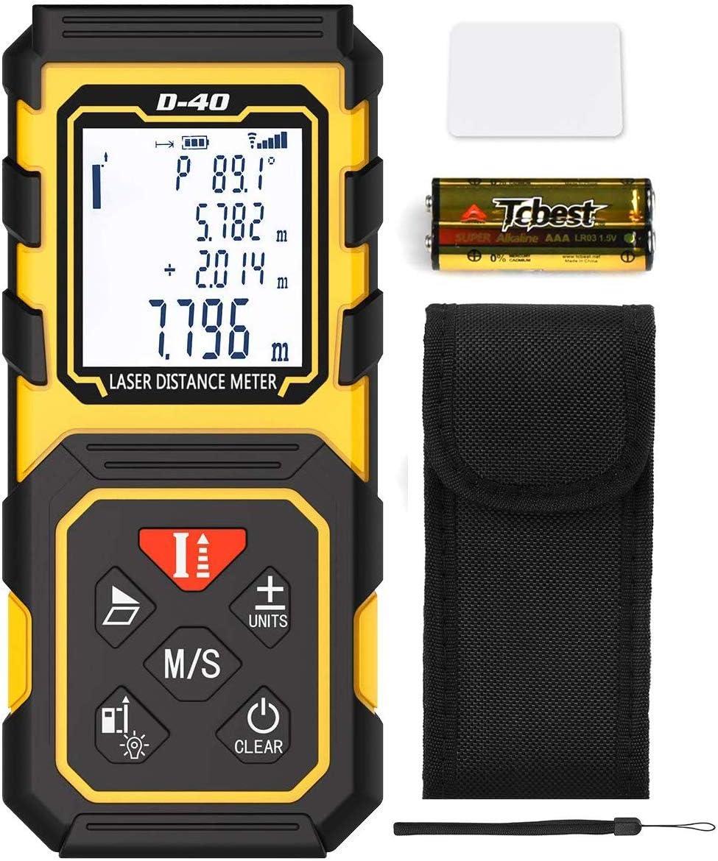 Medidor Láser de Distancia Tilswall, Telémetro 40 m HD con Precisión 1mm, Herramienta de Medición Digital Portátil con Nivel de Burbuja Cálculo Automático, Impermeable IP54 Cubierta ABS Pantalla LCD