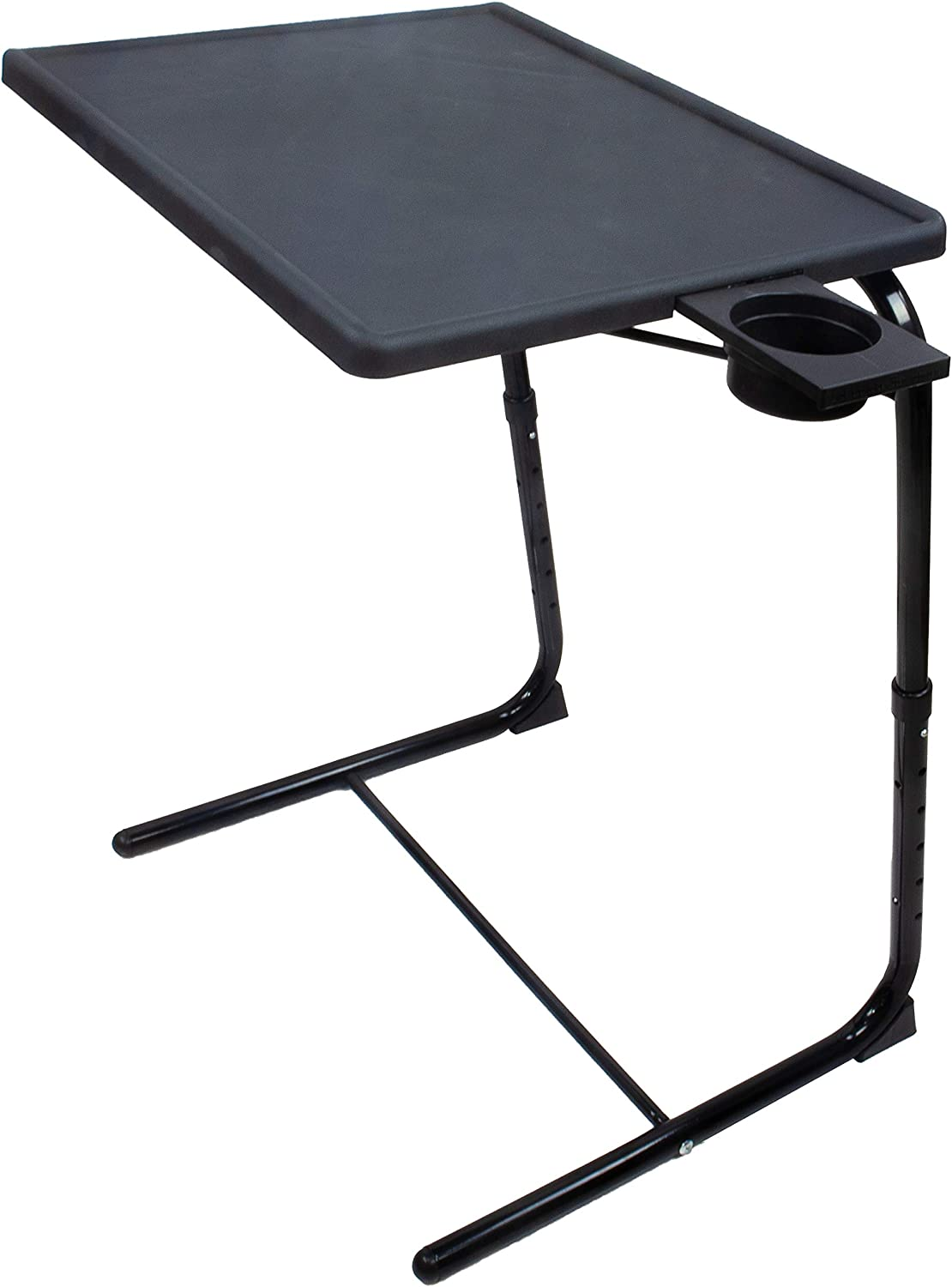 5 STAR SUPER DEALS Portable Foldable TV Tray Table Deluxe - Laptop, Eating, Drawing Tray Table Stand with Adjustable Tray with Sliding Adjustable Cup Holder (Black)