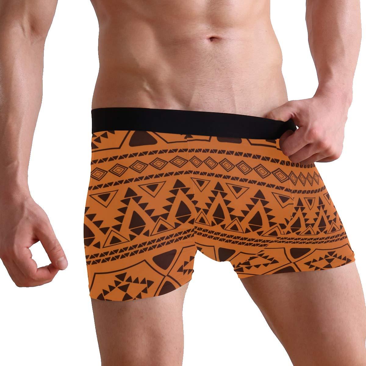 SUABO Mens 2-Pack Boxer Briefs Polyester Underwear Trunk Underwear with Ethnic Pattern Design