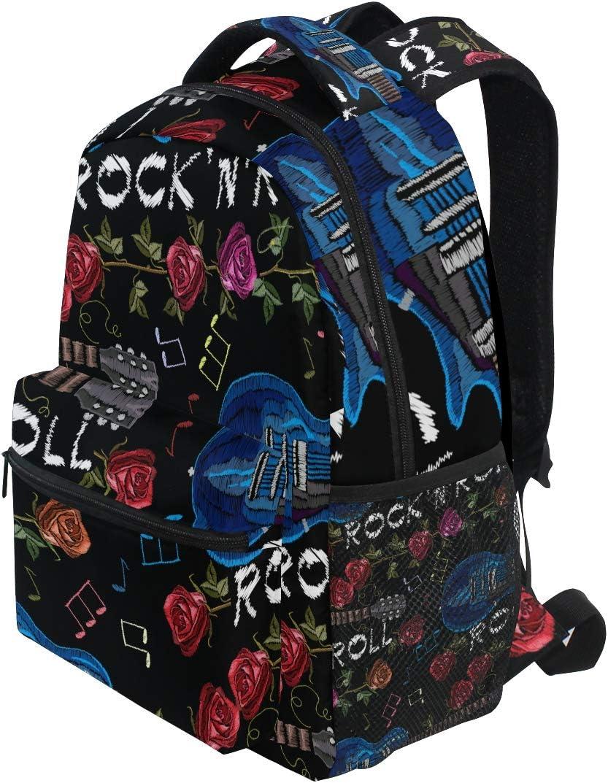 Ahomy Sac /à Dos d/école pour Adolescentes Filles gar/çons Sac /à Dos de Voyage Sacoche de randonn/ée pour Femmes et Hommes Musique Rock Guitare et Roses