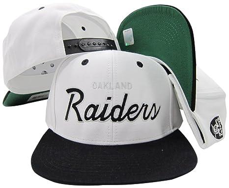 830cb15da Oakland Raiders White/Black Script Two Tone Adjustable Snapback Hat / Cap
