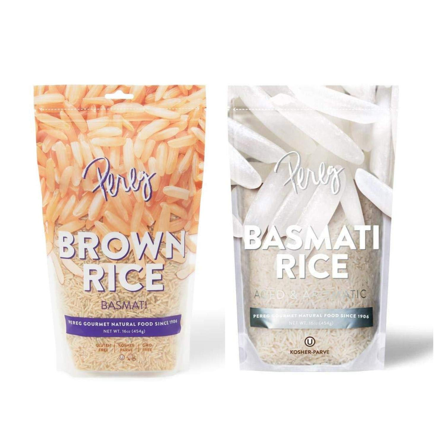 Pereg Brown Basmati Rice & White Basmati Rice (16oz + 16oz) - Extra Long, Naturally Aged & Aromatic Grail - Soft, Fluffy & Cooks Quickly