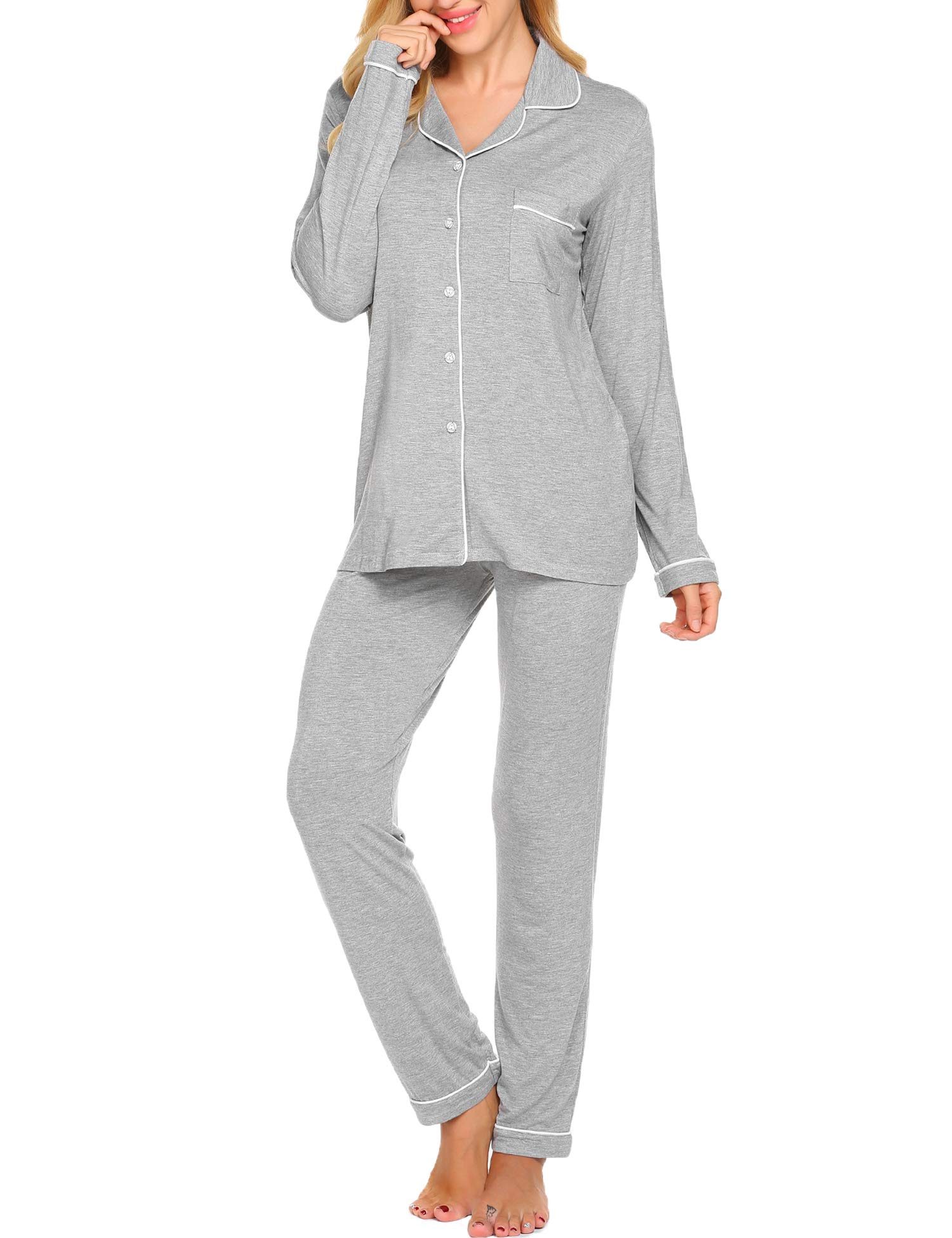 Ekouaer Pajama Set Womens Soft Sleepwear Long Sleeve Pjs Top Long Lounge Pants,Grey,Small