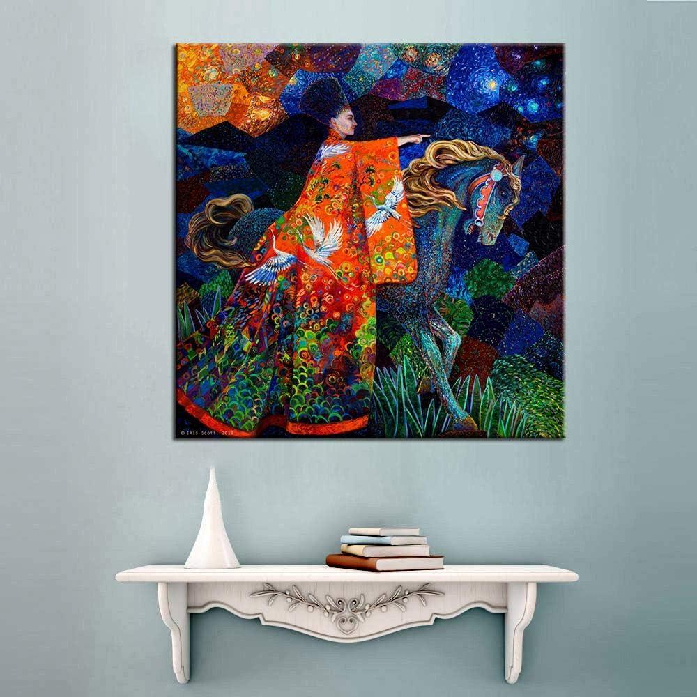 RuYun Cuadro de Lienzo con diseño de Caballo con Mujer, Cuadro de Pintura al óleo para salón, Arte de Pared, póster e Impresiones sin Marco, 28 x 28 cm