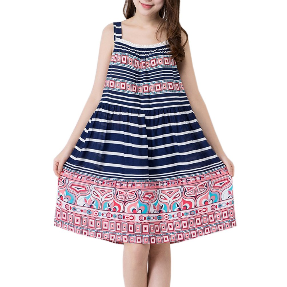 ENJOYNIGHT Women\'s Cotton Sleeveless Print Nightgown Chemise Sleep Dress (Stripe, Large)