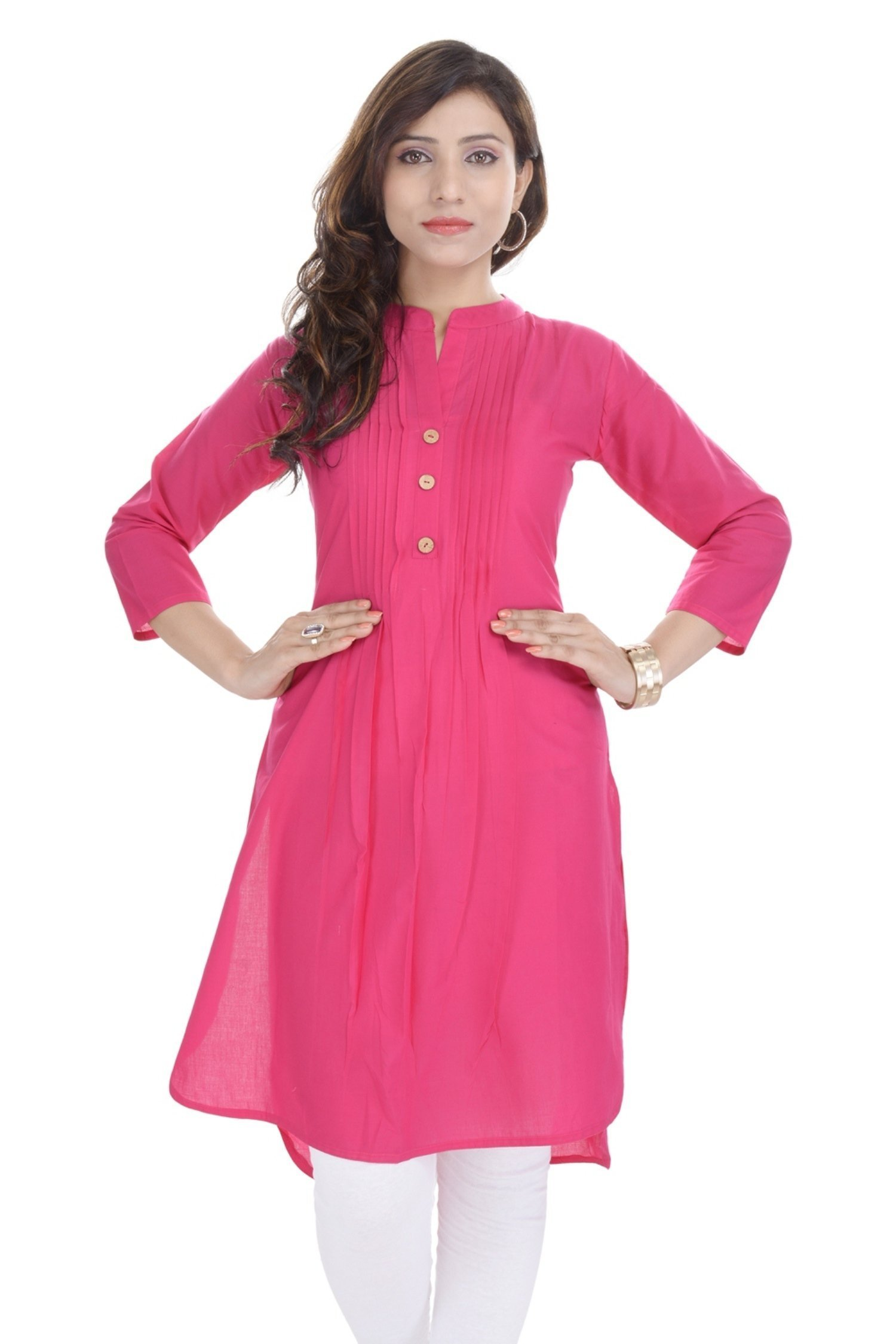 Chichi Embroidered Women's Tunic Top Kurti Blouse, Rose Red, M
