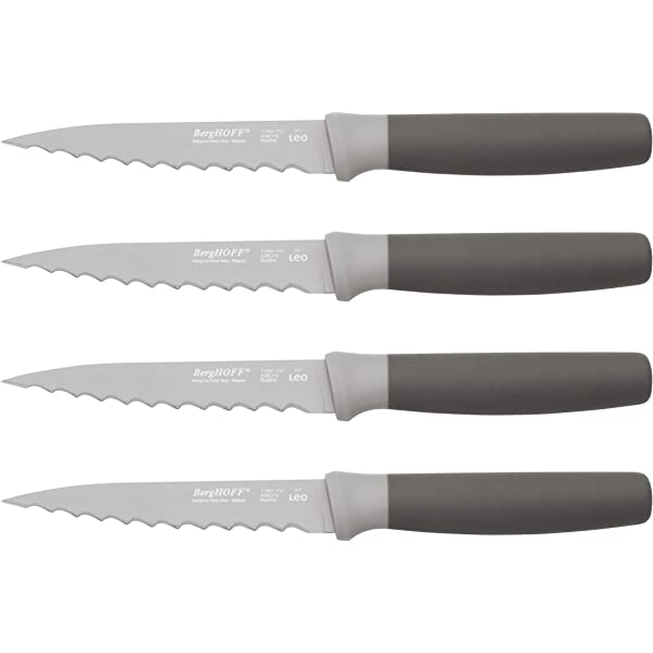 Amazon Com Berghoff Leo 4 5 Stainless Steel Steak Knives Set Of 4 Gray Kitchen Dining