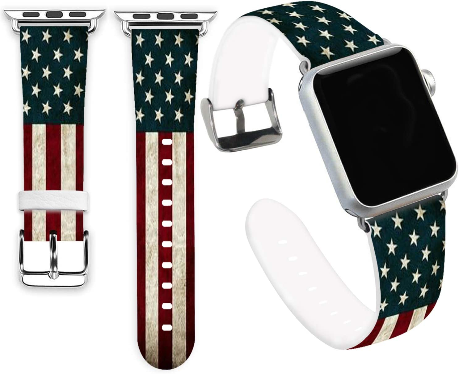 Flag Bands for iWatch 38mm,Jolook Soft Leather Sport Style Replacement Band Strap for iWatch 40mm 38mm Series 5,4,3,2,1- American Star Flag