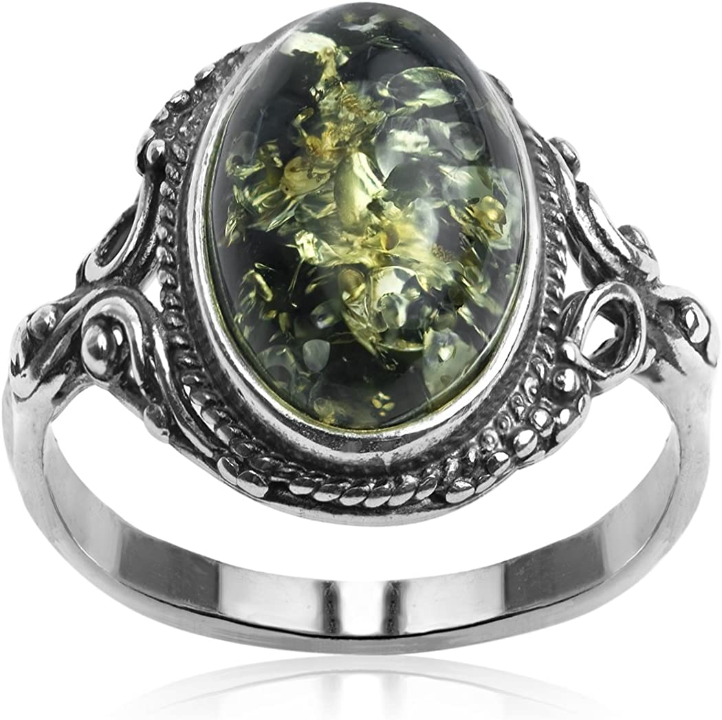Ámbar plata esterlina 925 pendientes de piedras preciosas-en Caja De Regalo