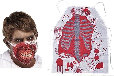 Bloody Apron Halloween Skeleton Butcher Zombie Fancy Dress Costume Adult