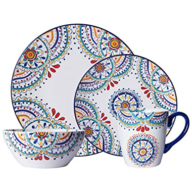 Pfaltzgraff 5229621 Delano 16-Piece Porcelain Dinnerware Set, Multi-Color