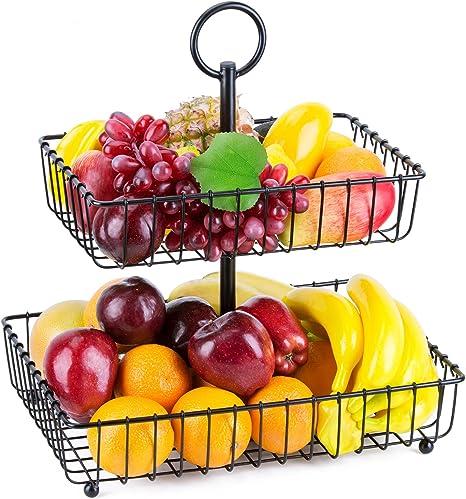 Sorbus 2-Tier Countertop Fruit Basket Stand Fruit Basket Kitchen Rack