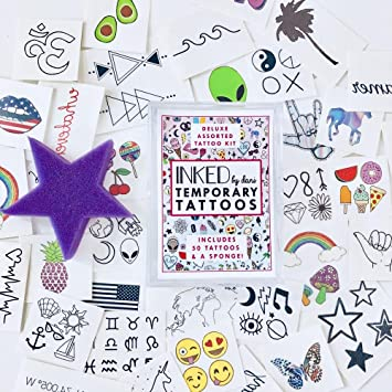Amazon Com Inked By Dani Temporary Tattoo Designs 50 Piece Party