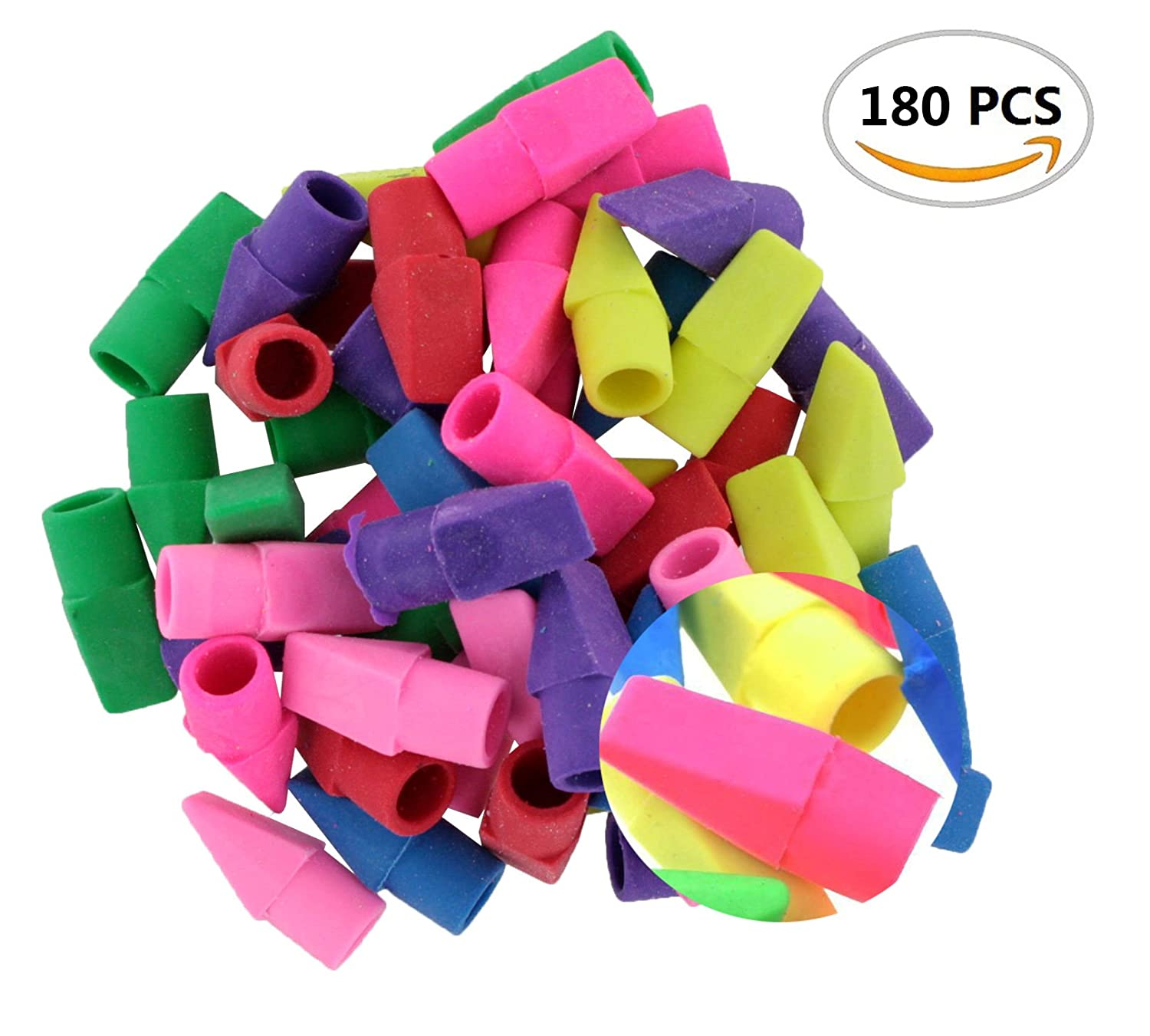 180PCS IFfree Eraser Caps Assorted Colors,Fun Color for Fun Learning NEW.Assorted Colors-Red, Yellow, Green, Blue, Purple, Orange.